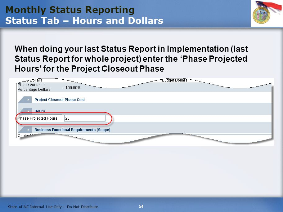 Monthly Status Reporting Status Tab – Hours and Dollars
