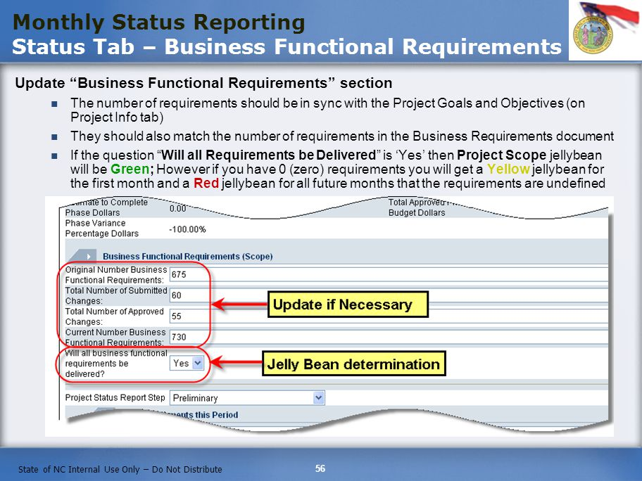Monthly Status Reporting Status Tab – Business Functional Requirements