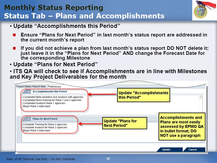 Monthly Status Reporting Status Tab – Plans and Accomplishments