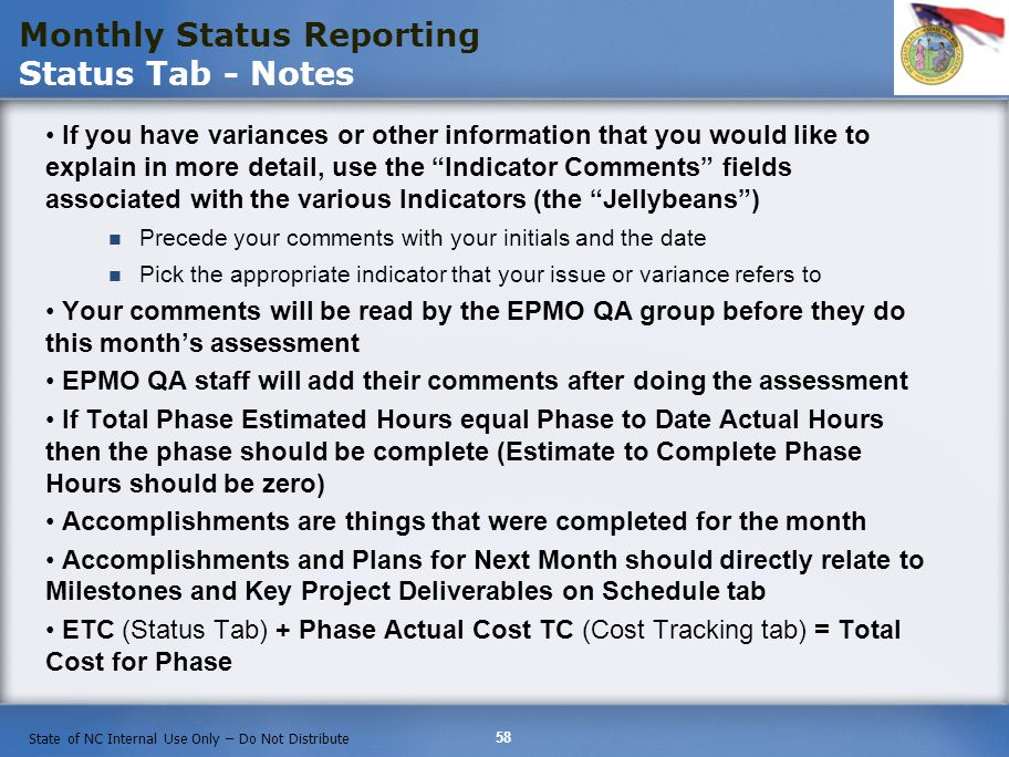 Monthly Status Reporting Status Tab - Notes