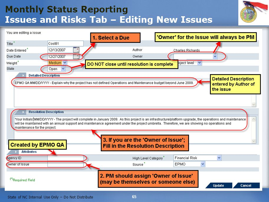 Monthly Status Reporting Issues and Risks Tab – Editing New Issues