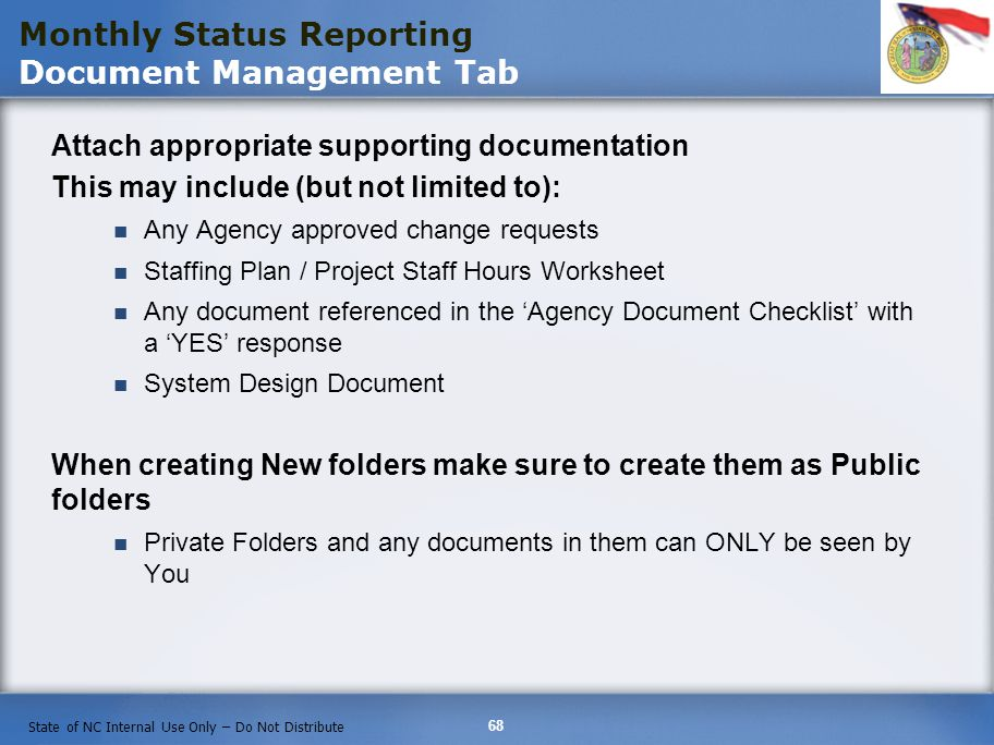 Monthly Status Reporting Document Management Tab