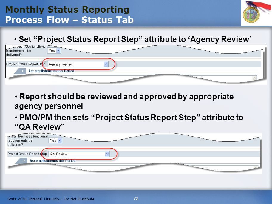 Monthly Status Reporting Process Flow – Status Tab