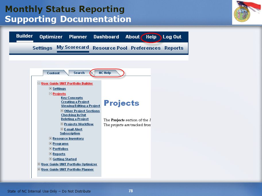 Monthly Status Reporting Supporting Documentation