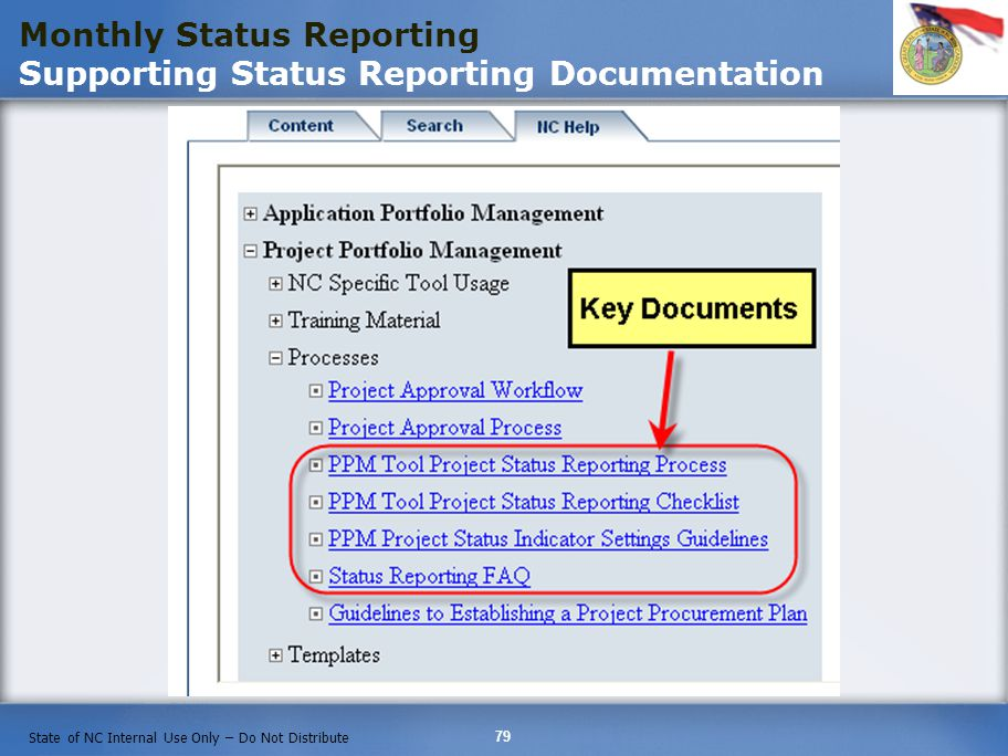 Monthly Status Reporting Supporting Status Reporting Documentation