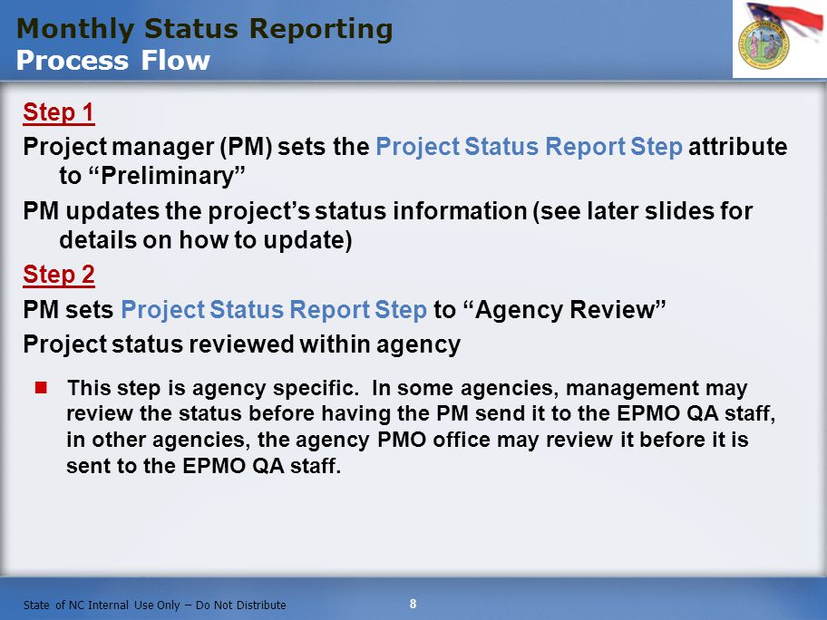 Monthly Status Reporting Process Flow