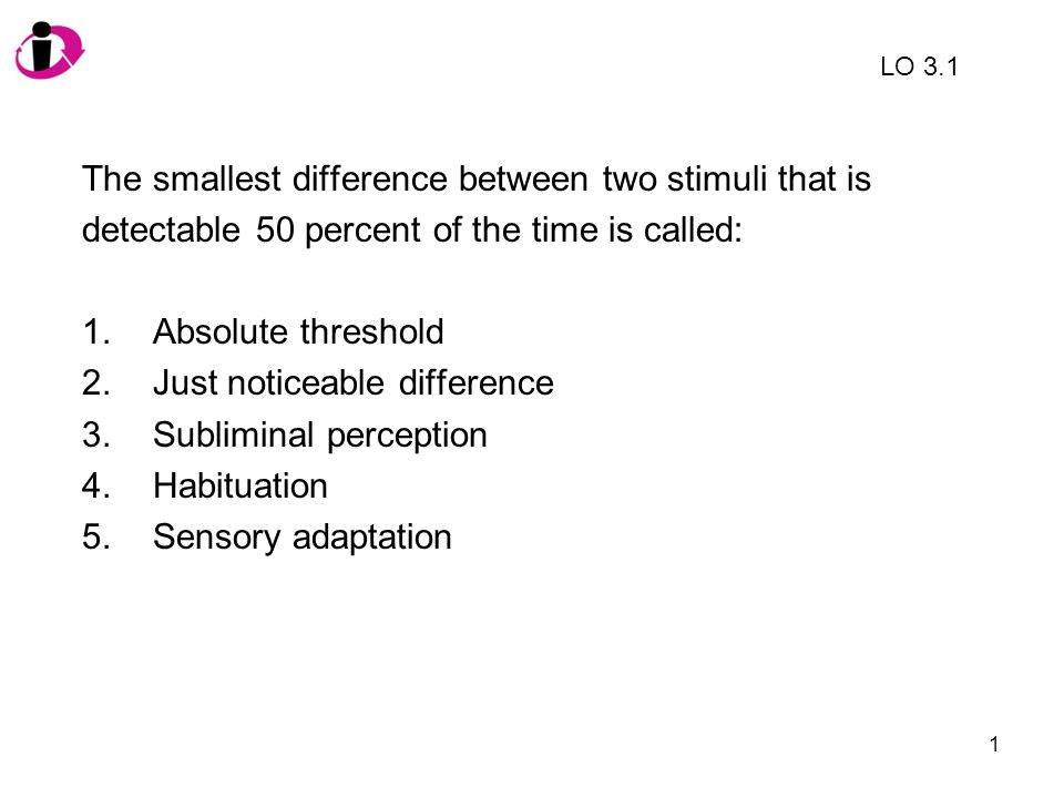 The smallest difference between two stimuli that is