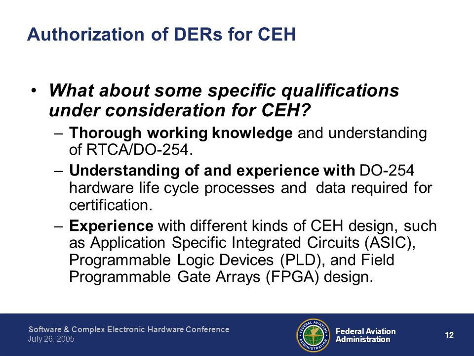 Authorization of DERs for CEH