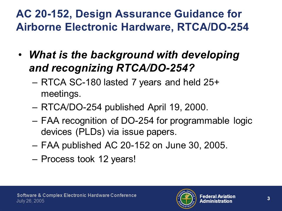 What is the background with developing and recognizing RTCA/DO-254