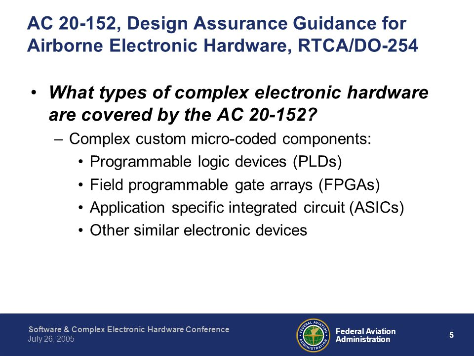 AC 20-152, Design Assurance Guidance for Airborne Electronic Hardware, RTCA/DO-254