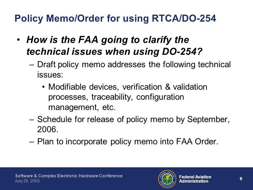 Policy Memo/Order for using RTCA/DO-254