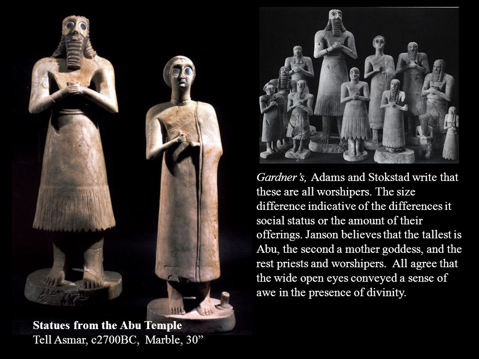 Gardner's, Adams and Stokstad write that these are all worshipers