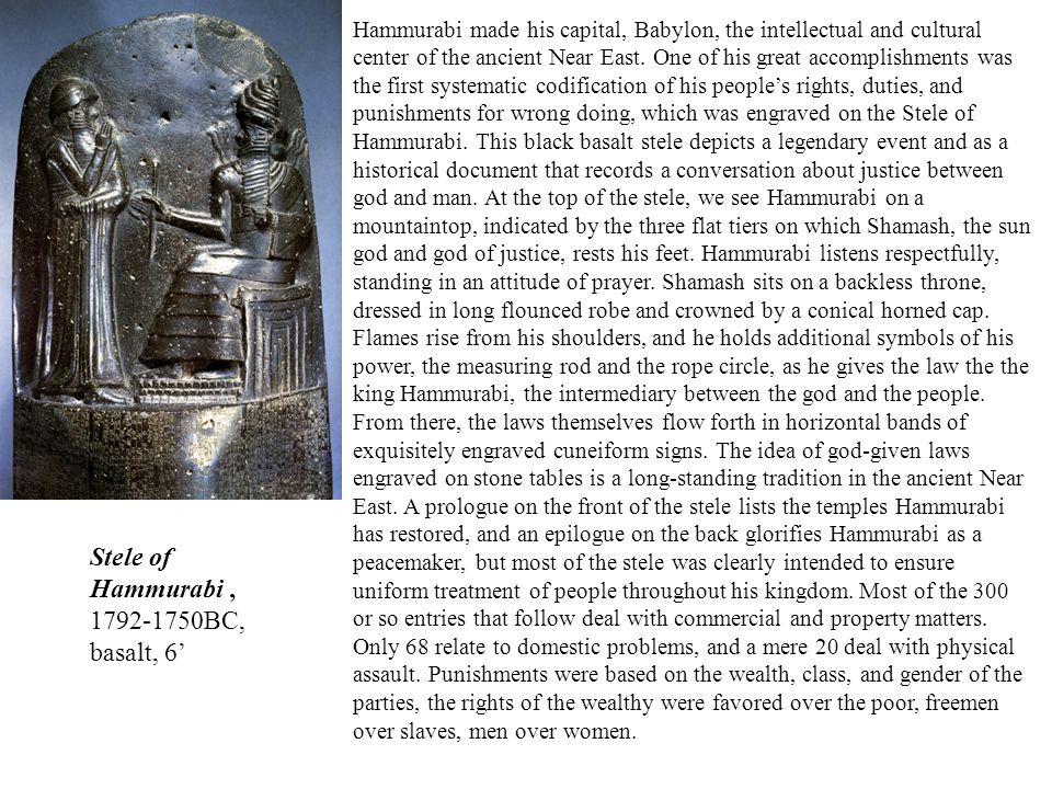 Stele of Hammurabi , 1792-1750BC, basalt, 6'
