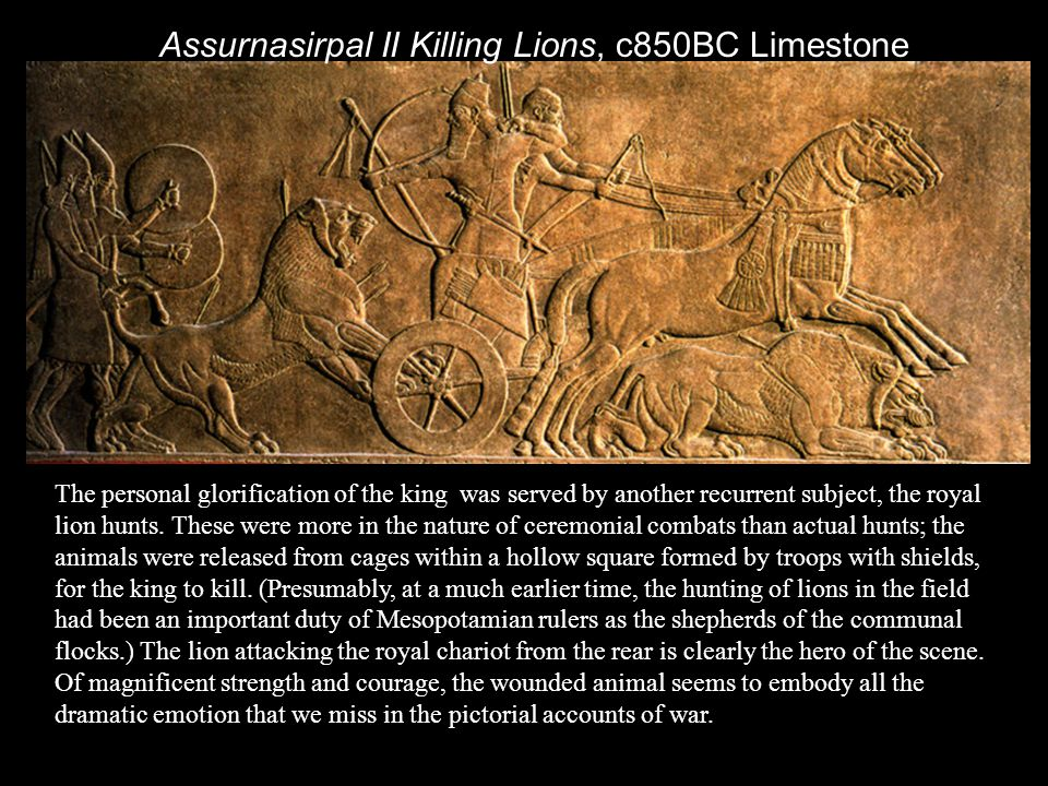 Assurnasirpal II Killing Lions, c850BC Limestone