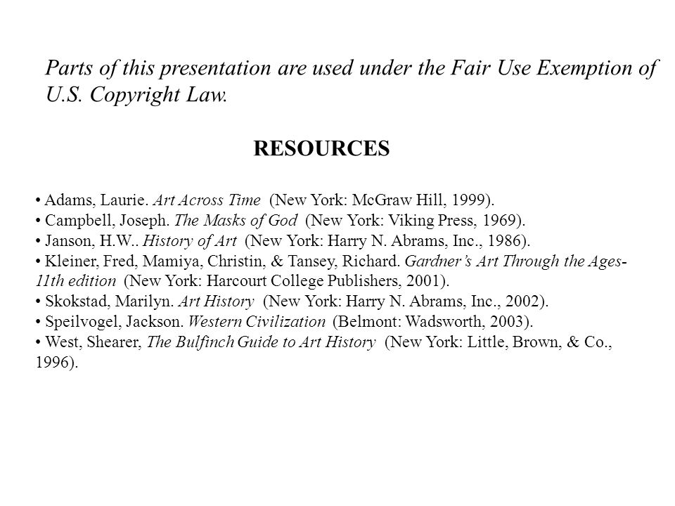 Parts of this presentation are used under the Fair Use Exemption of