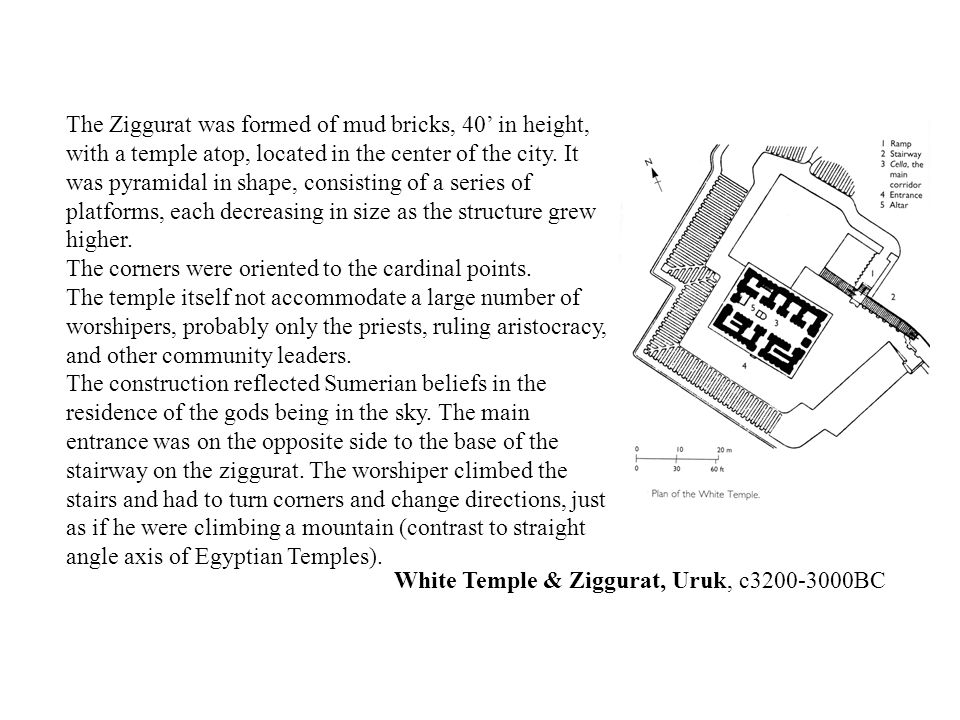 The Ziggurat was formed of mud bricks, 40' in height, with a temple atop, located in the center of the city. It was pyramidal in shape, consisting of a series of platforms, each decreasing in size as the structure grew higher.