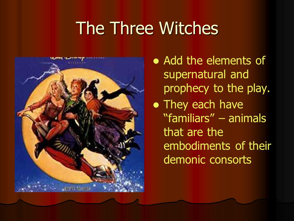 The Three Witches Add the elements of supernatural and prophecy to the play.