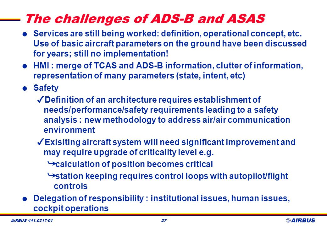 The challenges of ADS-B and ASAS