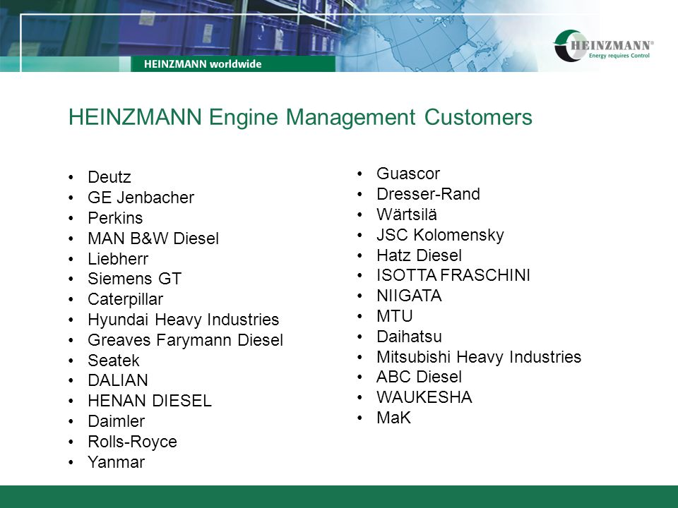 HEINZMANN Turbine Management Customers