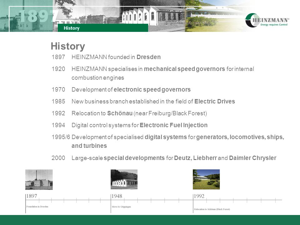 History Since HEINZMANN becomes a system provider for