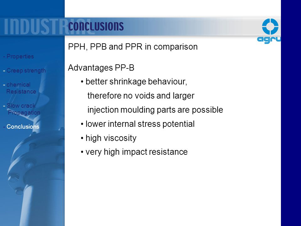 CONCLUSIONS PPH, PPB and PPR in comparison Advantages PP-B