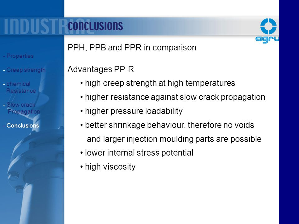 CONCLUSIONS PPH, PPB and PPR in comparison Advantages PP-R