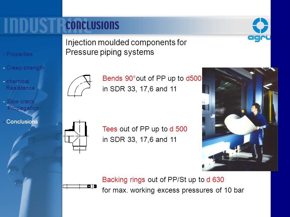 CONCLUSIONS Injection moulded components for Pressure piping systems