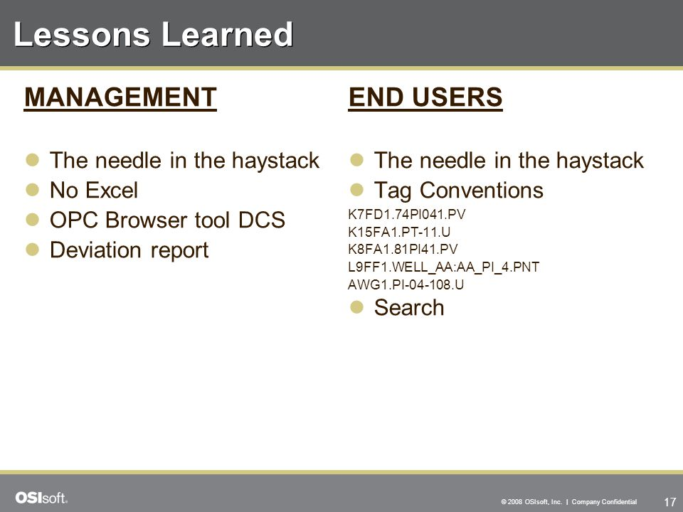 Lessons Learned MANAGEMENT END USERS The needle in the haystack