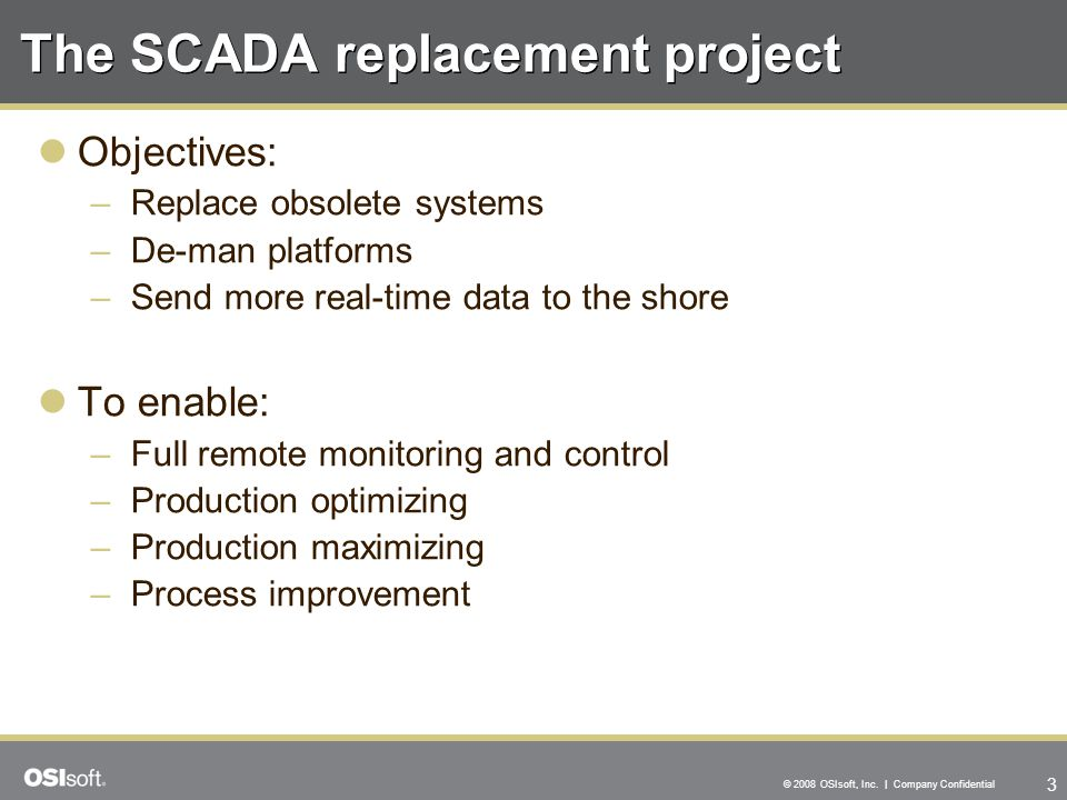 The SCADA replacement project