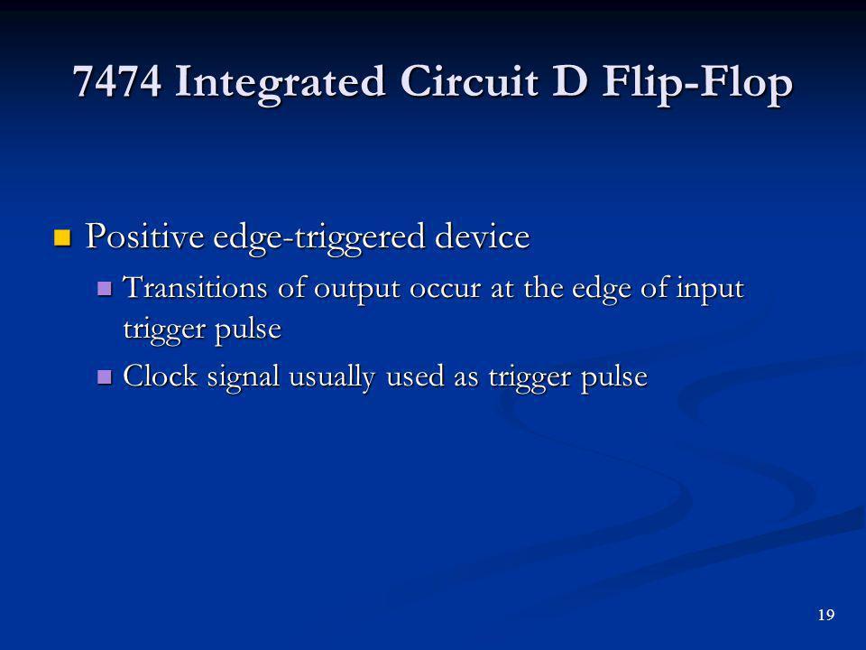 7474 Integrated Circuit D Flip-Flop
