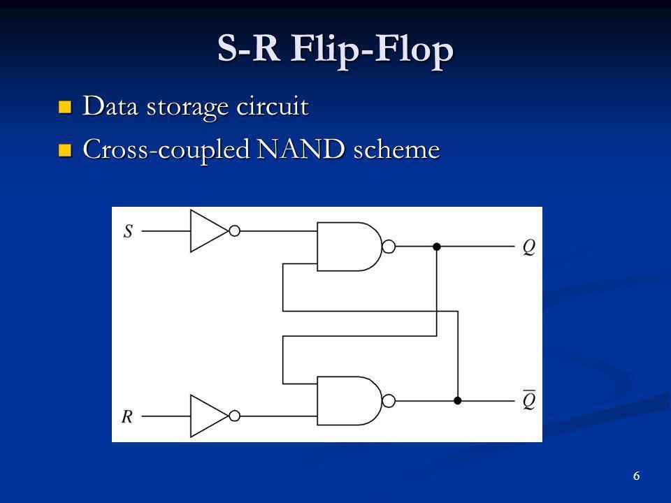 S-R Flip-Flop Data storage circuit Cross-coupled NAND scheme 6