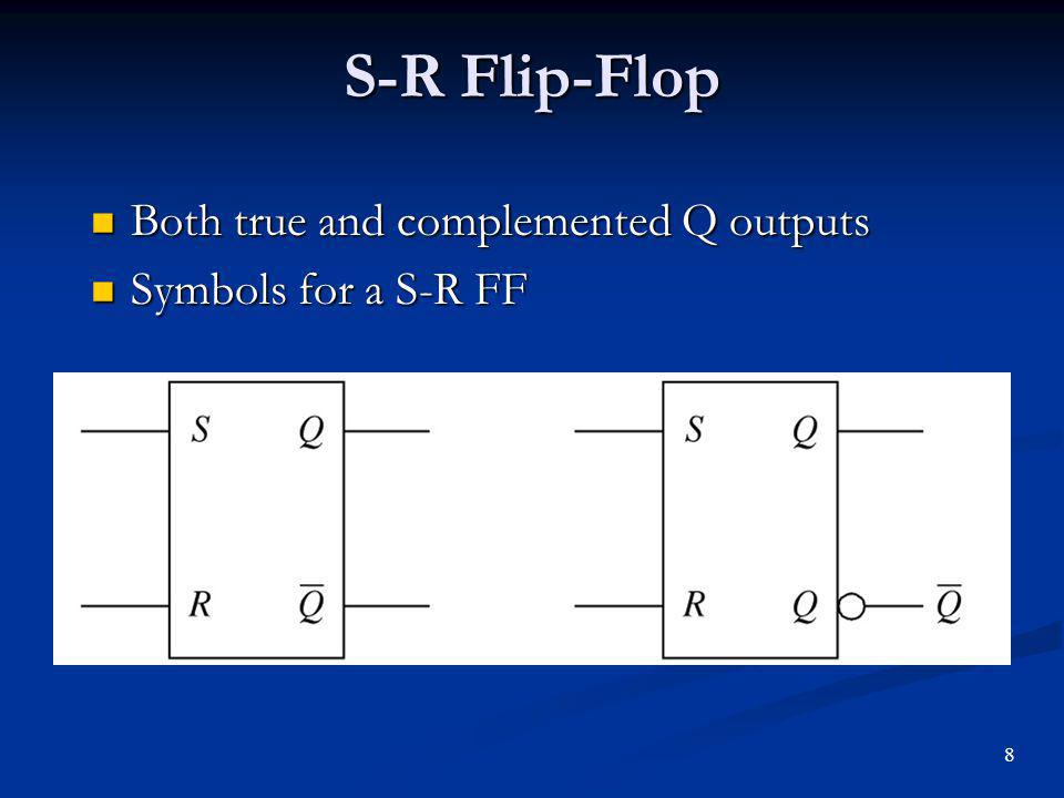 S-R Flip-Flop Both true and complemented Q outputs