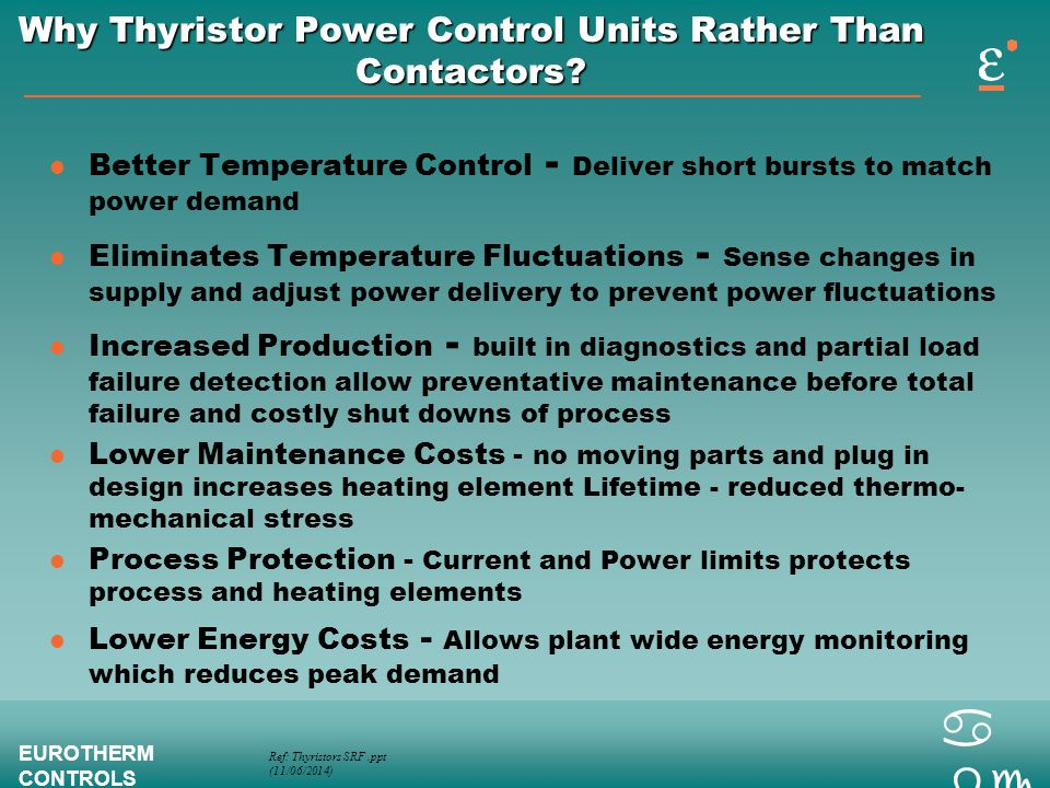 Why Thyristor Power Control Units Rather Than Contactors