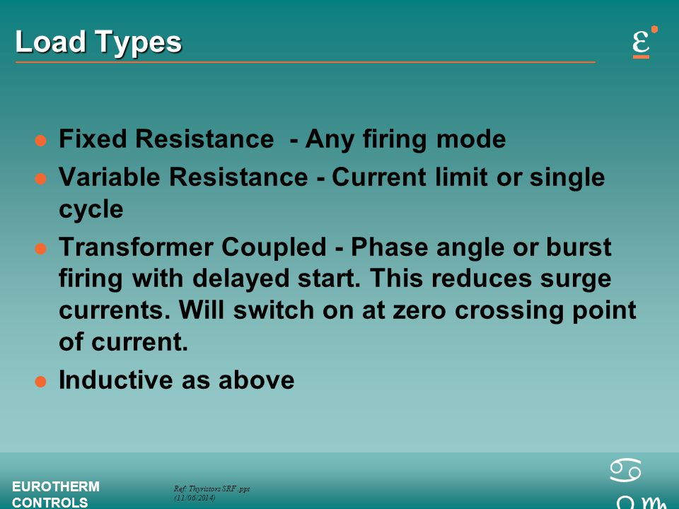 Load Types Fixed Resistance - Any firing mode