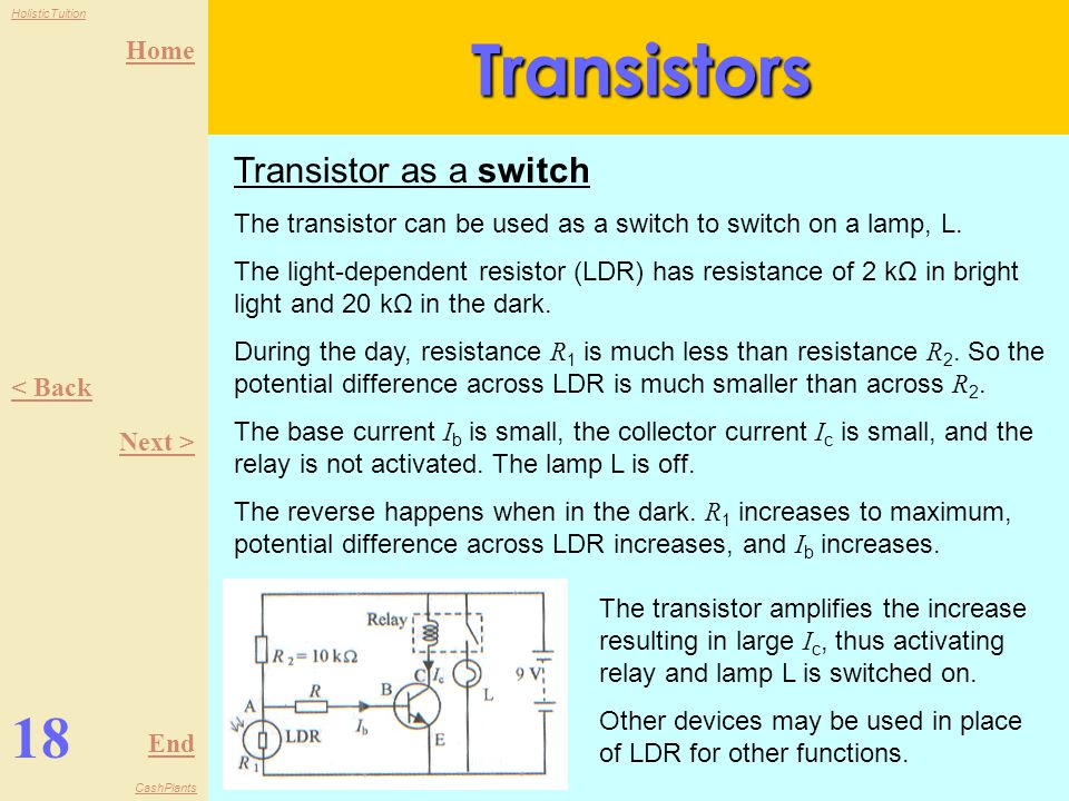 Transistors 18 Transistor as a switch