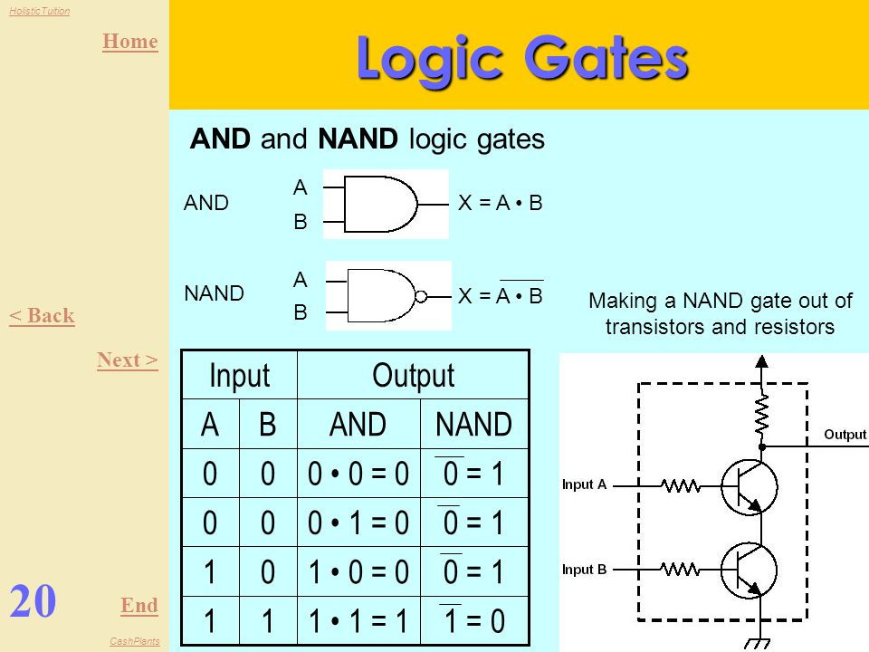 Making a NAND gate out of transistors and resistors