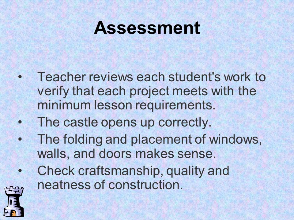 Assessment Teacher reviews each student s work to verify that each project meets with the minimum lesson requirements.