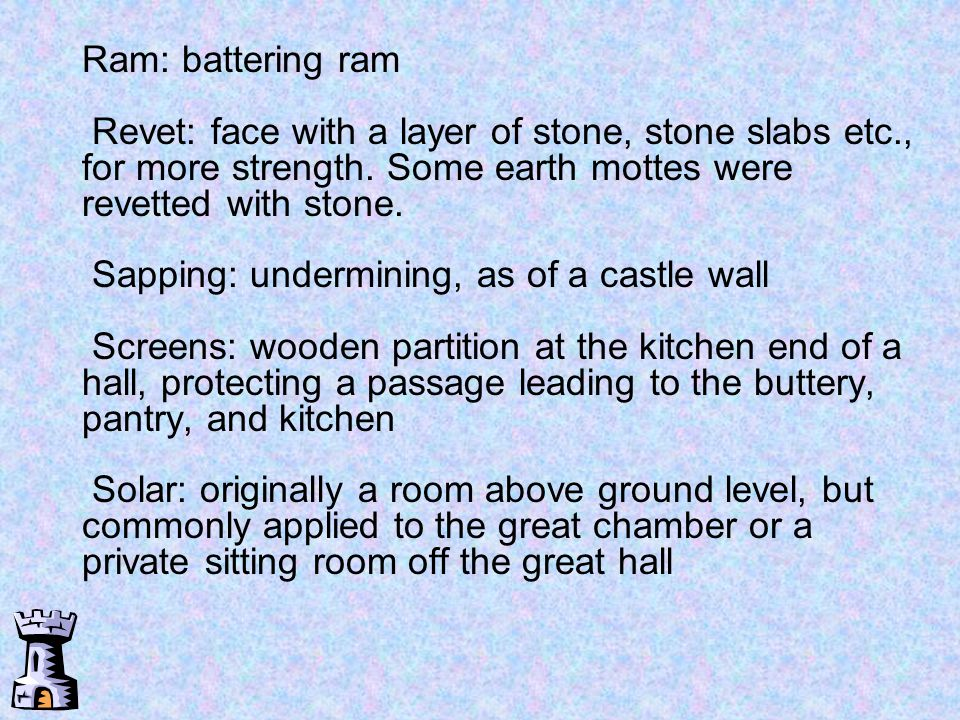 Ram: battering ram Revet: face with a layer of stone, stone slabs etc