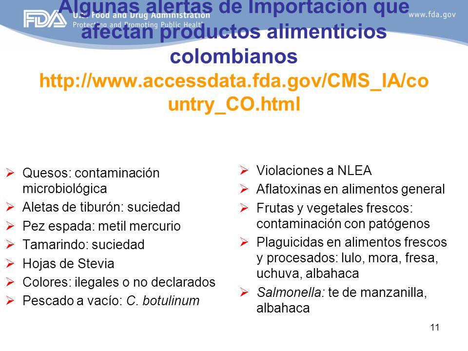 Algunas alertas de Importación que afectan productos alimenticios colombianos http://www.accessdata.fda.gov/CMS_IA/country_CO.html