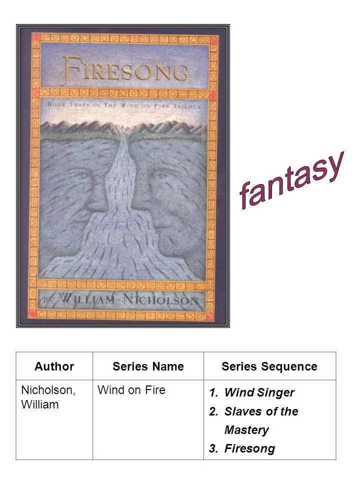 fantasy Author Series Name Series Sequence Nicholson, William