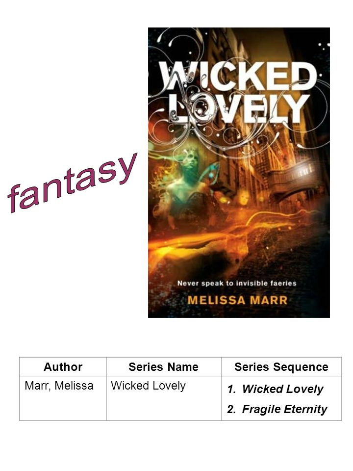 fantasy Author Series Name Series Sequence Marr, Melissa Wicked Lovely