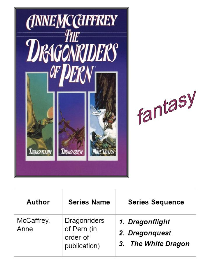 fantasy Author Series Name Series Sequence McCaffrey, Anne