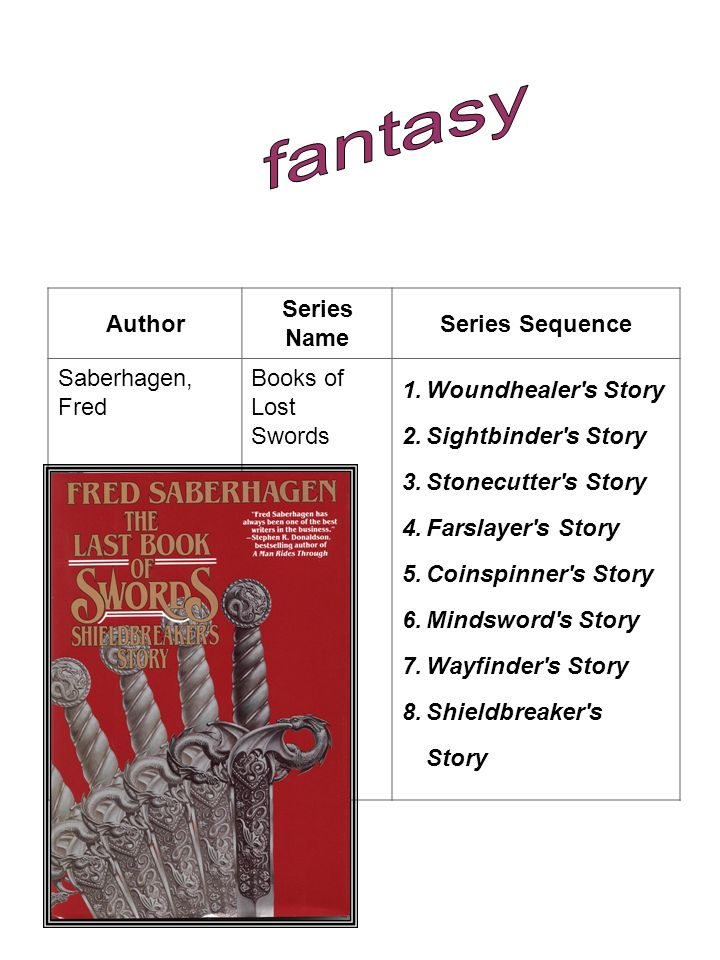 fantasy Author Series Name Series Sequence Saberhagen, Fred