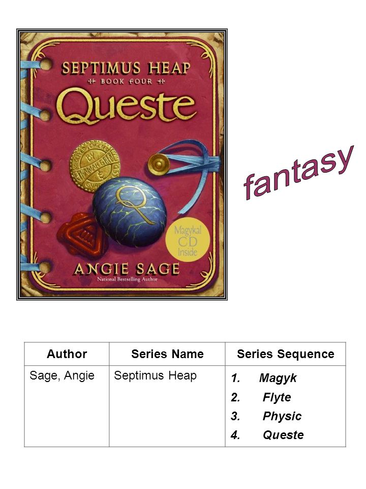fantasy Author Series Name Series Sequence Sage, Angie Septimus Heap