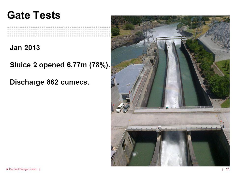 Gate Tests Jan 2013 Sluice 2 opened 6.77m (78%). Discharge 862 cumecs.