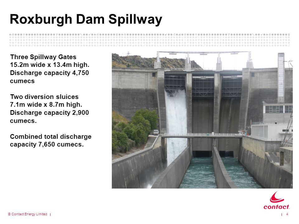 Roxburgh Dam Spillway Three Spillway Gates 15.2m wide x 13.4m high.