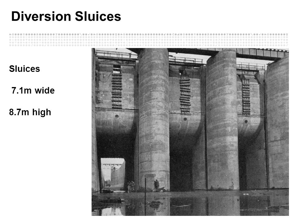 Diversion Sluices Sluices 7.1m wide 8.7m high