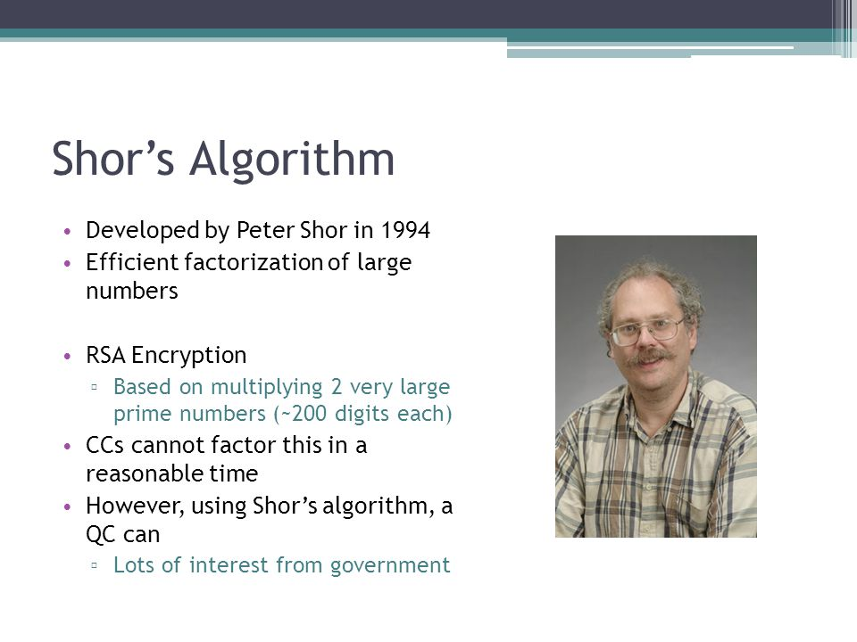Shor's Algorithm Developed by Peter Shor in 1994