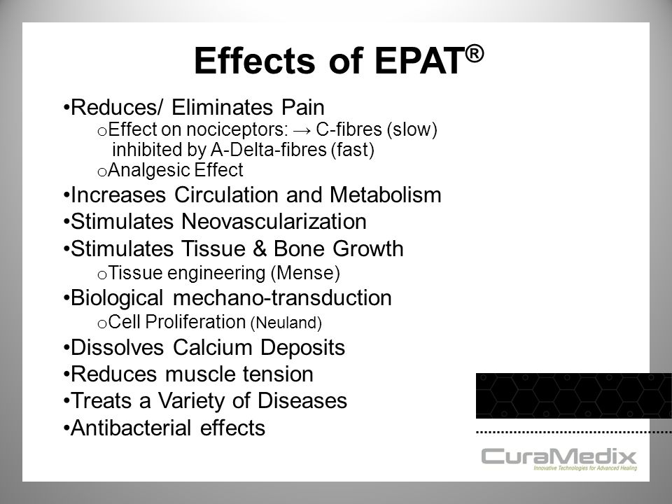 Effects of EPAT® Reduces/ Eliminates Pain