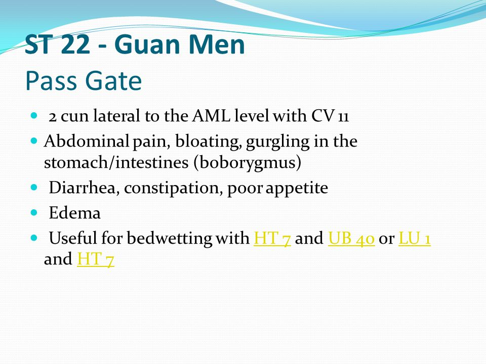 ST 22 - Guan Men Pass Gate 2 cun lateral to the AML level with CV 11